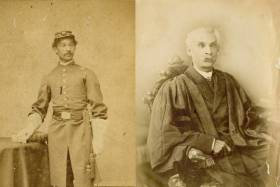 Anderson Abbott, the first Canadian-born Black MD, is pictured in 1863 (left) in his army uniform, and later on in his life (right) in his academic robes (photos courtesy of Toronto Public Library)