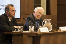 U of T Professor Jacques Bertrand (left) speaks with Bob Rae (right) about his report on the Rohingya crisis at the Munk School of Global Affairs (photo by Noreen Ahmed-Ullah)