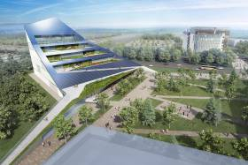 An illustration of a wedge-shaped building covered in solar panels and with gardens growing on four terraces. (courtesy of U of T Scarborough and Centennial College)