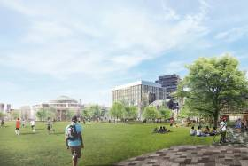 An artists' rendering of Front Campus shows a green space edged with trees and pedestrian walkways.