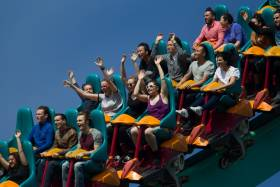 Alumni ride the rollercoaster during a SHAKER alumni event at Canada's Wonderland.