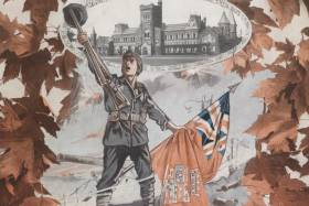 An illustrated cover of a volume of the Varsity's wartime supplement (image courtesy of U of T Archives)