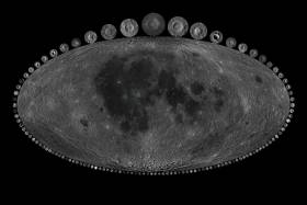 The image shows a map of all the lunar craters included in this study, with small images showing the study craters at their respective sizes relative to Copernicus, pictured at the top (data from NASA GSFC / LRO / USGS; image by Alex Parker)