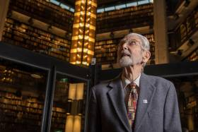 Former chief librarian Robert Blackburn, seen here in October, 2017 at the Thomas Fisher Rare Book Library for the 125th anniversary of U of T Libraries, turned 100 on Feb. 3 (photo by Geoffrey Vendeville)