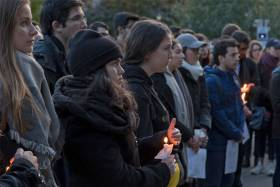 Members of the U of T community gathered for a vigil outside of University College October 30, 2018 (photo by Romi Levine)