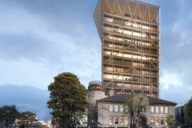 A 14-storey academic building made of wood is to be built on top of the Goldring Centre (all renderings courtesy of MJMA and Patkau Architects)