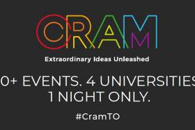 Text reading: CRAM. 30 plus events. 4 universities. 1 night only.