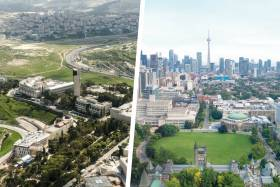 Aerial photo of Hebrew University of Jerusalem campus beside aerial photo of University of Toronto campus.