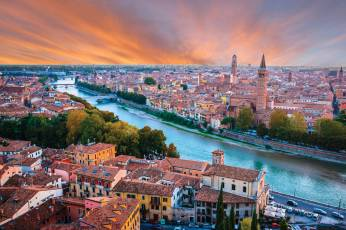 Sunset view across the city of Verona