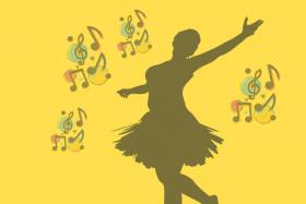 Silhouette of a woman dancing with music notes around her.