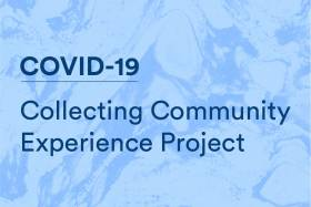 """Collecting Community Experience Project"" written on a marbled background"