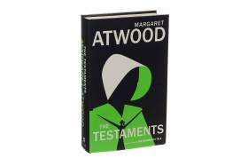 Front view of the hard cover version of the book The Testaments
