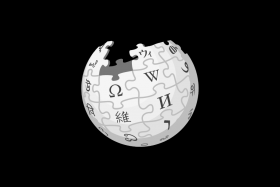 Black and white graphic of white globe with black symbols with pieces missing from top