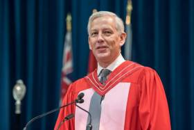 McKinsey & Co.'s Dominic Barton received an honorary Doctor of Laws, honoris causa, from the University of Toronto on Tuesday (photo by Steve Frost)