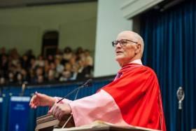 William C. Graham, Canada's former federal minister of foreign affairs and defence minister, receives a Doctor of Laws, honoris causa, on Friday (photo by Lisa Sakulensky)