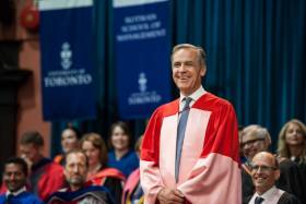 Bank of England Governor Mark Carney received a Doctor of Laws, honoris causa, from the University of Toronto on Monday (photo by Lisa Sakulensky)