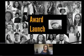 The words Award Launch appear over a collage of portraits of Black leaders and achievers.