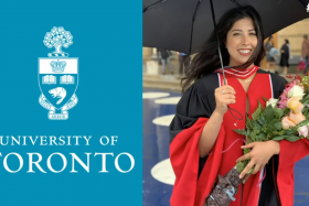Samantha Yammine smiles, wearing academic robes and holding flowers and an umbrella.
