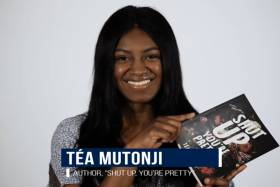 Tea Mutonji smiles as she holds up a copy of her book Shut Up, You're Pretty