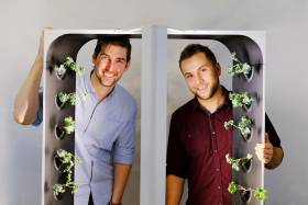 Conner Tidd and Kevin Jakiela peek through a frame with tiny kale plants growing on its sides.