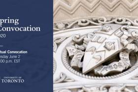 A screenshot from U of T's Spring 2020 Virtual Convocation shows a stone carving of the University crest.