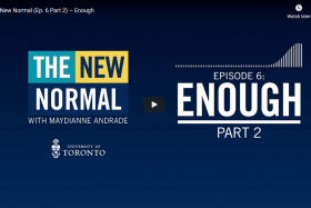 A screenshot of the New Normal podcast shows the words: Enough, Part 2