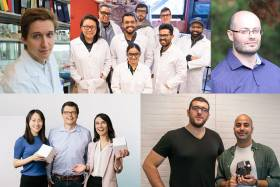 A collage of five photos showing the startup founders posing in smiling groups.