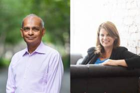 Side-by-side portraits of Vivek Goel and Julia Zarb, both smiling.