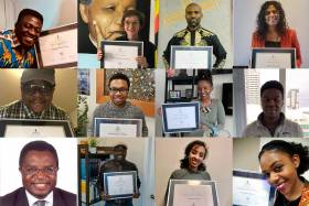 A grid of 12 images shows 12 winners of the 2020 African Scholars Awards holding up their certificates.