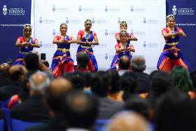U of T community members celebrating creation of Tamil Studies Chair