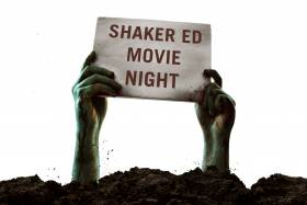 "two green hands coming out of the dirt, holding a sign that says ""SHAKER Ed Movie Night."""