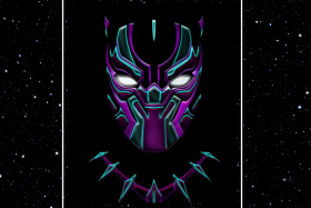 Black panther mask with purple and blue strips against a star filled black background