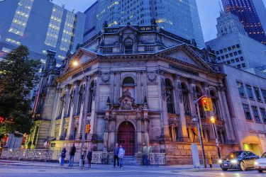 Hockey Hall of Fame at night